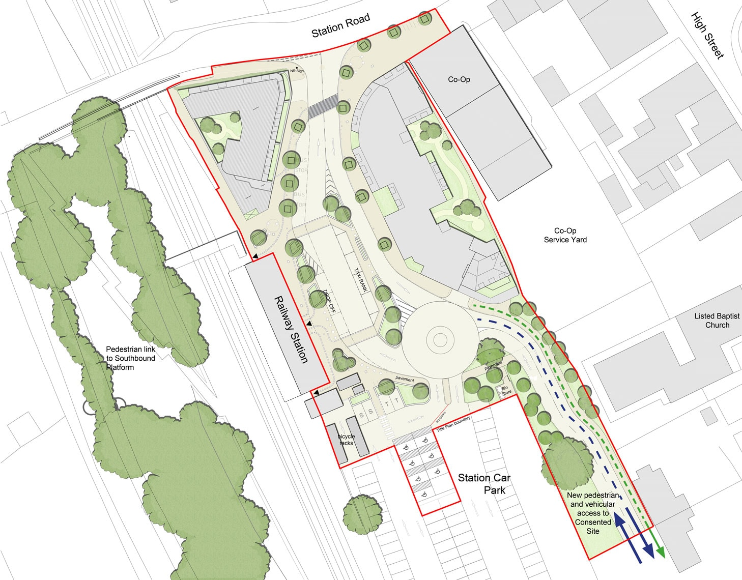 23154A_Plan-Highlighting-New-Access-to-Consented-Site-